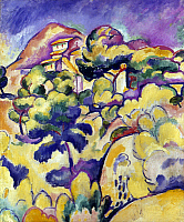0162690 © Granger - Historical Picture ArchiveBRAQUE: LANDSCAPE, 1907.   'Landscape at La Ciotat.' Oil on canvas by Georges Braque, 1907.