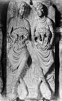 0162832 © Granger - Historical Picture ArchiveFRENCH RELIEF, 12th CENTURY.   12th century relief at the Basilica of Saint Sernin, depicting the legend of two women from Toulouse, France, who gave birth to a lion and a lamb at the time of Christ's birth.