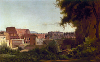 0163049 © Granger - Historical Picture ArchiveCOROT: COLOSSEUM, c1826.   View of the Colosseum and the Arch of Titus from the Farnese Gardens of the Palatine, by Jean-Baptiste Camille Corot, shortly after the buttresses on the western wall were constructed and the Arch of Titus was reconstructed, c1826.