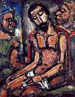 0165674 © Granger - Historical Picture ArchiveROUAULT: CHRIST, 1932.   'Christ Mocked by Soldiers.' Oil on canvas by Georges Rouault, 1932. EDITORIAL USE ONLY.