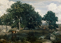 0264514 © Granger - Historical Picture ArchiveCOROT: FOREST, 1846.   'Forest of Fontainebleau.' Oil on canvas by Jean-Baptiste Camille Corot, 1846.