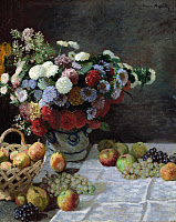 0433753 © Granger - Historical Picture ArchiveMONET: STILL LIFE, 1869.   'Still Life with Flowers and Fruit.' Oil painting, Claude Monet, 1869.