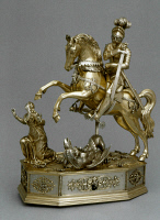 0353211 © Granger - Historical Picture ArchiveGERMAN AUTOMATON, c1600.   Silver and parcel gilt automaton figure of Saint George, made by Joachim Fries at Augsburg, c1600. Height: 40 centimeters.