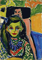 0433832 © Granger - Historical Picture ArchiveKIRCHNER: FRANZI, 1910.   'Fränzi in front of Carved Chair.' Oil on canvas, Ernst Ludwig Kirchner, 1910.