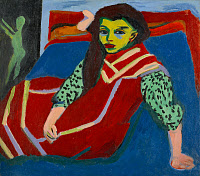 0433835 © Granger - Historical Picture ArchiveKIRCHNER: SEATED GIRL.   'Seated Girl (Fränzi Fehrmann).' Oil on canvas, Ernst Ludwig Kirchner, c1915.