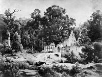 0623452 © Granger - Historical Picture ArchiveLESSING: LANDSCAPE, 1852.   Forest landscape with farmstead. Drawing by Carl Friedrich Lessing, c1852.