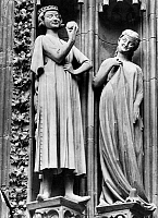 0260139 © Granger - Historical Picture ArchiveGOTHIC FIGURES, c1230.   The Tempter seducing one of the foolish virgins (Matthew 25:1-13). Gothic column figures from the south west portal of Strasbourg Cathedral in France, c1230.