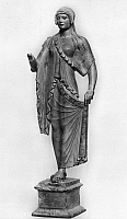 0041865 © Granger - Historical Picture ArchiveGREEK STATUETTE, 50 B.C.   Work of 50 B.C.-50 A.D., imitating archaic Greek sculpture. Bronze inlaid with silver. Height (with base) 18.5 cm.