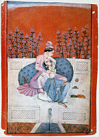 0036437 © Granger - Historical Picture ArchiveKAMA SUTRA, 19th CENTURY.   Lovers in an embrace. Indian manuscript illumination, 19th century, from the Pahari School.