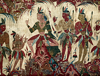 0036864 © Granger - Historical Picture ArchiveINDIAN ART: FOREIGNER.   Arrival of a Foreigner (center) in India. Ink, cotton, 17th century.