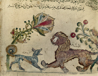 0260779 © Granger - Historical Picture ArchiveKALILA WA DIMNA.   The fox, Dimna, woos the lion, Pingalaka, from an Iranian version of the traditional Sanskrit collection of fables, Kalila wa Dimna, 1237 A.D.