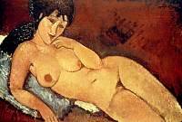 0020113 © Granger - Historical Picture ArchiveMODIGLIANI: NUDE, 1917.   Nude on a Blue Cushion. Canvas by Amedeo Modigliani, 1917.