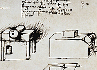 0023139 © Granger - Historical Picture ArchiveLEONARDO DA VINCI.   Study of friction on flat as well as mobile surfaces.