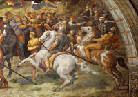 0023715 © Granger - Historical Picture ArchiveRAPHAEL: ATTILA'S HORSEMEN.   Horsemen of Attila the Hun before Rome in 452. Detail from the fresco 'The Meeting of Leo the Great and Attila,' 1514, by Raphael.