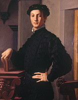 0026156 © Granger - Historical Picture ArchiveBRONZINO: PORTRAIT   of a Young Man. Oil on wood, 1535-40.