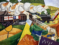 0031671 © Granger - Historical Picture ArchiveSEVERINI: RED CROSS TRAIN   Passing a Village. Oil on canvas by Gino Severini, 1915.