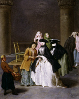 0035801 © Granger - Historical Picture ArchiveLONGHI: FORTUNE TELLER.   A Fortune Teller at Venice. Oil on canvas by Pietro Longhi. RESTRICTED OUTSIDE US.