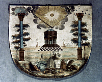 0050158 © Granger - Historical Picture ArchiveFREEMASON APRON.   Freemason apron: lambskin engraved and painted. Italian, c1800.