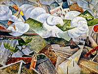 0053225 © Granger - Historical Picture ArchiveSEVERINI: TRAIN, 1915.   Gino Severini: Train Arriving at Paris. Oil on canvas, 1915. RESTRICTED OUTSIDE US.