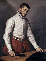 0056501 © Granger - Historical Picture ArchiveMORONI: THE TAILOR.   Portrait of a Man (The Tailor). Oil on canvas by Giovanni Battista Moroni. RESTRICTED OUTSIDE US.