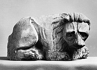0123287 © Granger - Historical Picture ArchiveLION, 14th CENTURY.   Crouching lion. Sculpture by Agostino and Agnolo di Siena, 14th century.