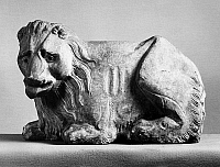 0123288 © Granger - Historical Picture ArchiveLION, 14th CENTURY.   Crouching lion. Sculpture by Agostino and Agnolo di Siena, 14th century.