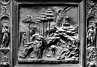 0123290 © Granger - Historical Picture ArchiveGHIBERTI: GATES OF PARADISE.   Bronze panel depicting scenes from the life of Abraham, from the doors of the Florence Baptistery, early 15th century.