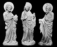 0123295 © Granger - Historical Picture ArchiveMADONNA AND TWO SAINTS.   Figurine group by a Venetian artist, 14th century. Height: 24 inches.
