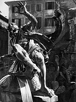 0132688 © Granger - Historical Picture ArchiveBERNINI: FOUNTAIN.   'Rio de la Plata,' the personification of the Americas, on the 'Four Rivers Fountain' in the Piazza Navona in Rome, by Giovanni Lorenzo Bernini, 17th century.
