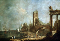 0132706 © Granger - Historical Picture ArchiveGUARDI: ROMAN RUINS.   A port and Roman ruins in Italy. Oil painting by Francesco Guardi, c1760.