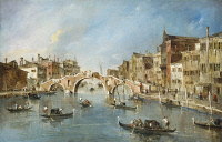 0132794 © Granger - Historical Picture ArchiveGUARDI: CANNAREGIO.   View of the Grand Canal and the Cannaregio in Venice, Italy. Oil painting by Francesco Guardi, c1770.
