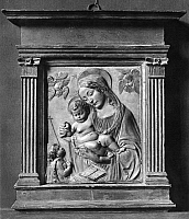 0162977 © Granger - Historical Picture ArchiveMAIANO: MADONNA & CHILD.   Relief of the Madonna and Child, by Benedetto da Maiano, 15th century.