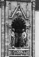 0163122 © Granger - Historical Picture ArchiveFOUR CROWNED SAINTS.   A relief depicting four crowned martyr saints, in Florence, Italy, by Nanni di Banco, c1410.