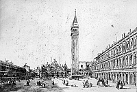 0163416 © Granger - Historical Picture ArchiveVENICE: ST. MARK'S SQUARE.   Saint Mark's Square in Venice, Italy. Sketch by Francesco Guardi, 18th century.