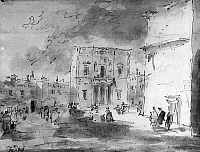 0163417 © Granger - Historical Picture ArchiveVENICE: TEATRO LA FENICE.   Il Teatro la Fenice in Venice, Italy. Sketch by Francesco Guardi, 18th century.
