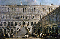 0163419 © Granger - Historical Picture ArchiveVENICE: DOGE CORONATION.   Coronation ceremony for Doge Alvise IV Mocenigo in the Ducal Palace in Venice, Italy in 1703. Oil painting by Francesco Guardi, 18th century.