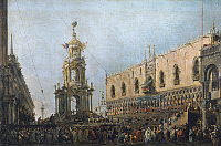 0163420 © Granger - Historical Picture ArchiveVENICE: CARNIVAL.   Closing ceremony of Carnival at the Piazetta in Venice, Italy. Doge Alvise IV watches from the canopy. Oil painting by Francesco Guardi, 18th century.