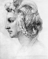 0164117 © Granger - Historical Picture ArchiveMICHELANGELO: WOMAN, c1528.   Ideal head of a woman. Drawing by Michelangelo, c1528.