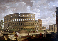 0165511 © Granger - Historical Picture ArchivePANNINI: COLOSSEUM.   The Colosseum and the Arch of Constantine in Rome. Oil on canvas by Giovanni Paolo Pannini, 18th century.