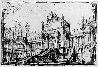 0165539 © Granger - Historical Picture ArchivePIRANESI: ARCHITECTURE.   'Architectural Fantasy.' Pen and ink and wash drawing by Giovanni Battista Piranesi, mid 18th century.