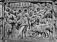 0165545 © Granger - Historical Picture ArchivePISANO: LIFE OF CHRIST.   Scenes of the presentation in the temple and the flight into Egypt. Marble relief by Giovanni Pisano, from the pulpit in the Duomo of the Pisa Cathedral, 1302-10.