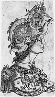 0173365 © Granger - Historical Picture ArchiveHELMET, 15th CENTURY.   Head and bust of a man wearing a fantastic helmet. Wood engraving by an unknown Florentine artist, 15th century.