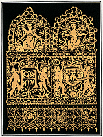 0268948 © Granger - Historical Picture ArchiveLACEWORK, 16th CENTURY.   Italian gold thread lacework design depicting the cypher and arms of Henry III of France, 16th century.