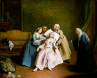 0350635 © Granger - Historical Picture ArchiveLONGHI: FAINT, c1745.   'The Simulated Faint.' Oil in canvas by Pietro Longhi, c1745.