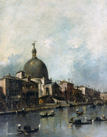 0350643 © Granger - Historical Picture ArchiveGUARDI: GRAND CANAL, 1780.   'The Grand Canal with San Simeone Piccolo and Santa Lucia.' Detail, oil on canvas by Francesco Guardi, c1780.