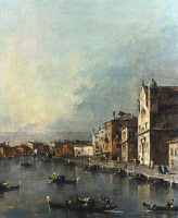 0350644 © Granger - Historical Picture ArchiveGUARDI: GRAND CANAL, 1780.   'The Grand Canal with San Simeone Piccolo and Santa Lucia.' Detail, oil on canvas by Francesco Guardi, c1780.
