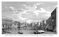 0600292 © Granger - Historical Picture ArchiveVENICE: GRAND CANAL, 1735.   The Grand Canal in Venice, Italy looking south from the Palazzi Foscari and Maro-Lin to Santa Maria della Carita. Engraving, 1735, by Antonio Visentini  after Canaletto.