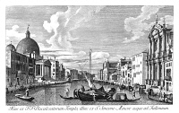 0600296 © Granger - Historical Picture ArchiveVENICE: GRAND CANAL, 1735.   The Grand Canal in Venice, Italy looking from Chiesa degli Scalzi to Fondamenta della Croce. Engraving, 1735, by Antonio Visentini after Canaletto.