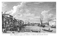 0600297 © Granger - Historical Picture ArchiveVENICE: CHIARA CANAL, 1735.   The Canale di Santa Chiara in Venice, Italy looking northwest from the Fondamenta della Croce to the Lagoon. Engraving, 1735, by Antonio Visentini after Canaletto.