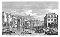 0600306 © Granger - Historical Picture ArchiveVENICE: GRAND CANAL, 1735.   The Grand Canal in Venice, Italy, looking south-east from the Palazzo Michiel dalle Colonne to the Fondaco dei Tedeschi. Engraving, 1735, by Antonio Visentini after Canaletto.